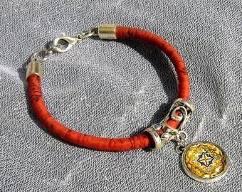 Portuguese antique tiles replica bracelet, Portuguese jewelry Cork bracelet, Portuguese cork, Eco-friendly, Cork, Tile, Azulejos, Charms