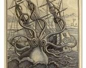 Kraken Octopus Print, Octopus Art, Octopus Poster, Crazy Kraken Print, Beach Decor, Coastal Art, Man Cave Art,