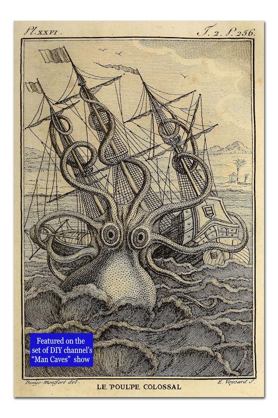 Kraken Octopus Print, Octopus Art, Attackin' Kraken and Ship Poster, Nautical Print, Beach Decor, Coastal Art, Man Cave Art, Gift For Men