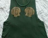 Mermaid Muscle Tank / Olive with Gold Foil Seashells / Original Artwork / Mermaid Top / Beach Top / Casual Tank / Women's Gift / Gift Idea