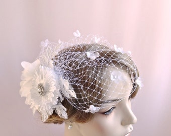 Bridal headpiece with veil, Birdcage veil with flowers, flowered bridal bird cage veil, wedding hair accessories handmade flowers, Style 804