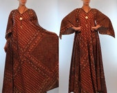 Reserved - Vintage 1970s INDIAN GAUZE 100% Cotton Bohemian Caftan Dress. Hippie Gypsy Boho Block Floral Print Angel Sleeve Red gown S M L