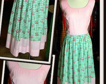 Vintage Pink Green White Check Cotton Dress FREE SHIPPING