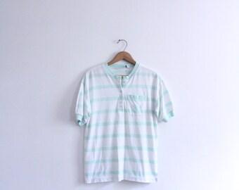 Pastel Striped 90s Button Tee