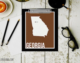 I love Atlanta, Georgia, GA, 11x14 or 8x10, customizable city, I heart pop art poster, digital art print, modern home decor state art
