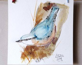 Original Watercolor Painting Crow sketch