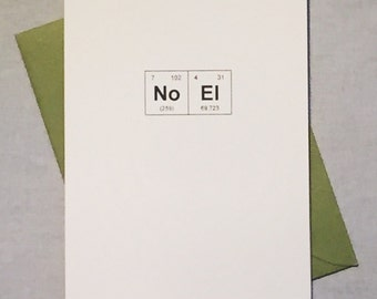 """Geeky Christmas Card Chemistry Periodic Table of the Elements """"NoEl / Merry Christmas / Sentimental Elements Holiday Card / Card for Teacher"""