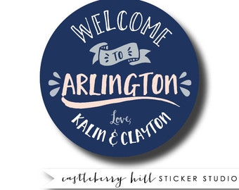 wedding welcome stickers, welcome bag stickers, welcome bag tags, welcome basket stickers, welcome basket labels, custom wedding stickers,