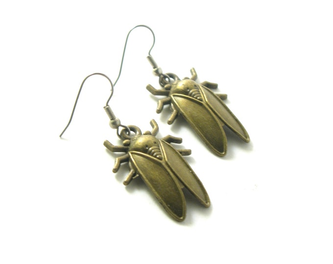 Large Antique Brass Cicada Charms with Sterling Silver or Hypoallergenic Surgical Stainless Steel Ear Wires