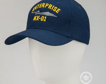 Star Trek Hat - Enterprise NX-01 - Embroidered Geeky Baseball Cap - Naval Hat Inspired