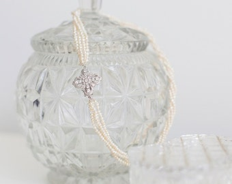 Multi Strand Pearl Necklace with Vintage Inspired Sterling Silver Cubic Zirconia Clasp