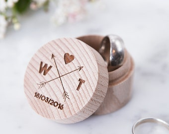 Personalised Wooden Trinket/Ring Box - Engraved Ring Box - Arrow Wedding - Gift for Couples - Personalised Ring Box - Tribal Wedding Decor
