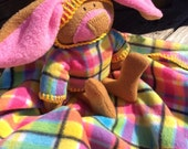 Spring Plaid Bunny Blanket, security Blanket, easter plaid, stuffed rabbit, pink and yellow baby shower gift, waldorf, washable & soft lovey