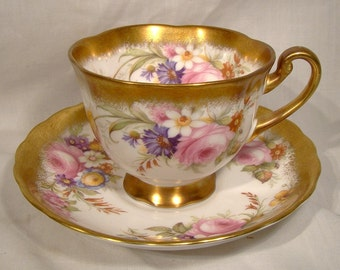 Royal Chelsea 5008A Pink Rose Floral Tea Cup and Saucer English Bone China