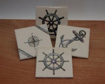 Nautical Coasters, Ceramic Ships Wheel Coasters, Ceramic Seafaring Tiles, Ocean Trivets Compass Coasters, Pop Art Coasters, Anchor Art