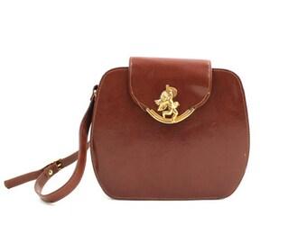 brown cherub bag • vintage 80s faux leather purse • brown cross body bag