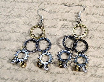 Hardware Jewelry Collection Steampunk Earrings Star Lock Washer Bronze Silver Gear Mixed Metal Dangle Handmade Repurposed Materials A282
