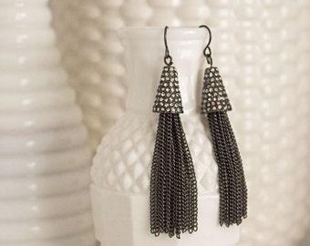Fringe Earrings, Gunmetal Chain, Rhinestone Cap, Sparkly Earrings, Rhinestones