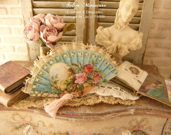 Miniature Victorian blue fan, Pink roses, 19th century, French boudoir, Decorative accessory for a French miniature house in 1:12th scale