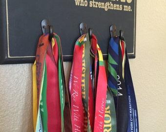 Running Medal Holder, Half Marathon, Marathon Medal Display Holder, Scripture - Black with hooks