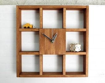 Wall Shelf, Large Wall Clock, Book Shelf, Shadow Box Shelf, Reclaimed Wood Decor, Rustic Centerpiece, Book Clock, Library Decor, Wooden Box