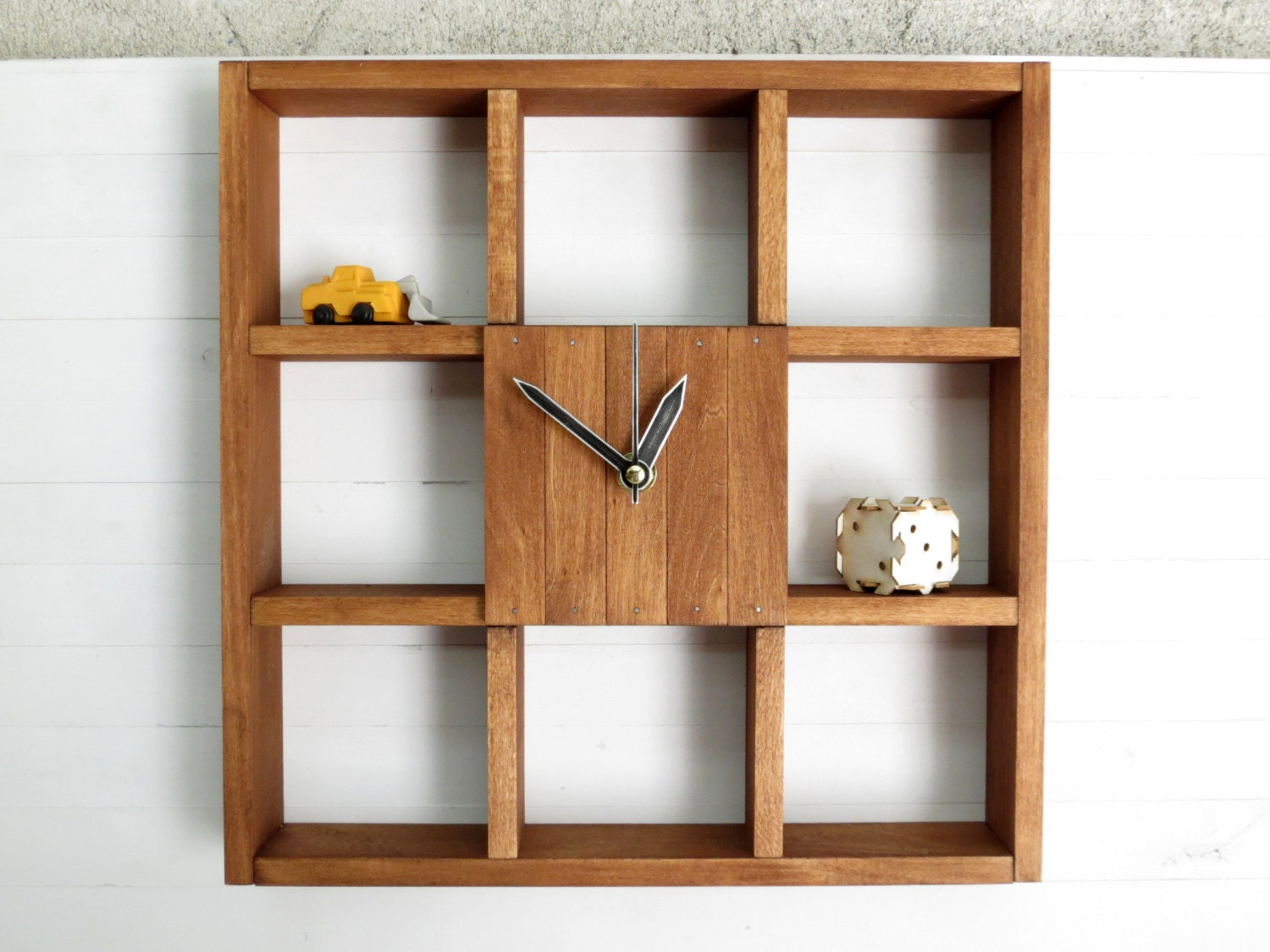 Design Wall Cabinets Wooden : Large wall clock shadow box shelf rustic centerpiece
