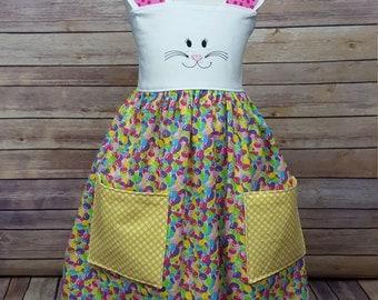 Easter Bunny Reverse Knot Pocket Dress, Birthday dress, Sizes 12 months, 18 months, 2t, 3t, 4t, 5, 6, 7, 8, 10, 12 girls