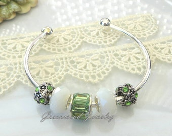 6PC Gift Set ~ Beautiful Green ~ European Style Bangle Charm Bracelet Includes: Lampwork Glass And Crystal Beads. May/August Birthday