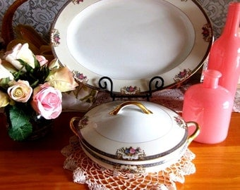 Antique // Noritake // Grasmere // Oval Covered Vegetable with Lid // Pattern 76567