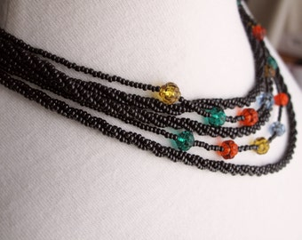Vintage Tribal Style Bead Necklace, Black Seed Bead Necklace With Colorful Highlights