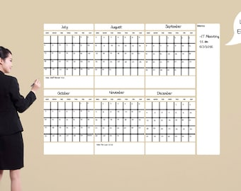 Large Dry Erase Calendar, Dry Large Erase Calendar, 6 Month Wall Calendar With Memo Area - Dry Erase Wall Calendar by Shop Simply Perfect