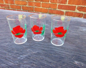 Vintage Juice Glasses Retro Hand Painted Red Flowers Mid Century 1960s Set of 3 Federal Glass Co