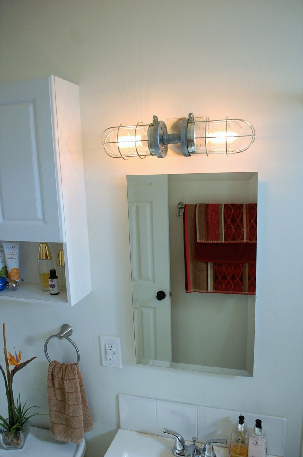 Industrial Wall Sconce Bathroom Light, Double Cage Wall