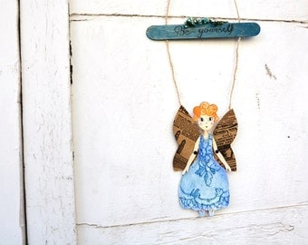 "Paper doll fairy ""Be yourself"", divorce motivational door hanger, fantasy wall decoration, inspirational quote guardian spirit, blue angel"