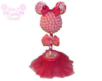 Customizable Lollipop Girl Mouse Topiary, Pink Mouse Candy Topiary, Pink Mouse Centerpiece, Pink Baby Shower Candy, Mouse Candy Buffet Decor
