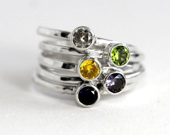 Birthstone Ring - Stacking Ring - Silver Birthstone Ring - Birthstone Jewelry - Mothers