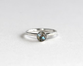 Labradorite Stacking Ring - Labradorite Ring - Labradorite Solitaire Ring