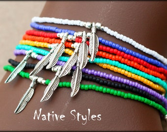 Stackable Boho Beaded BRACELET~Seed Beaded~Layered Native American Style Feather~Southwest Cowgirl~BOHO Girl Beaded~Bright Summer Beach Bead