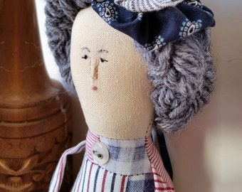 Millicent, art doll, folk art, gift, handmade, patchwork, collectible, prim, primitive doll, OOAK,