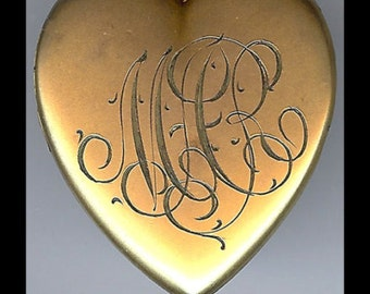 ANTIQUE gold fill crescent moon & star rhinestones heart LOCKET PENDANT