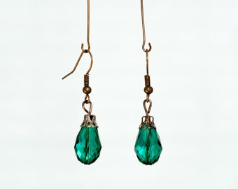 Teal Teardrop Glass Bead Earrings