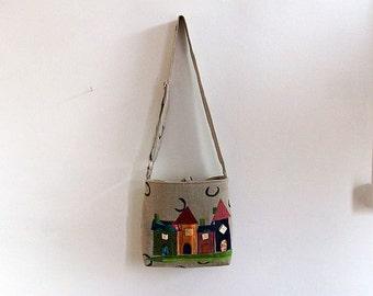Linen Bag, Messenger Bag, Crossbody Bag, Shoulder Bag, Handmade Appliqued Bag, UK Seller, One of a Kind Bag