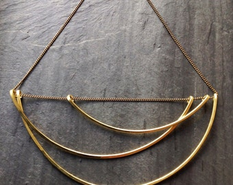 Large Brass Geometric Necklace, Tidal, Loop Jewelry, large cloud necklace, ocean, deco, portland jewelry, brass, sterling silver, goldfill