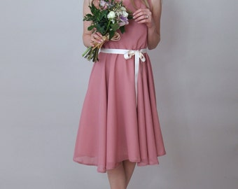 BELLE - Bridesmaid Dress - Rose pink chiffon bridesmaid dress, prom style, full circle