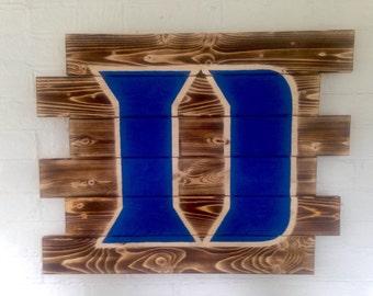 Duke Blue Devils rustic wood sign