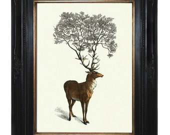 Deer Stag Hannibal Tree growing from Antlers - Victorian Steampunk art print Woodland Forest Surrealism