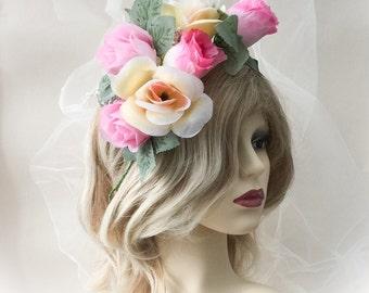 flower headpiece, festival headdress,  bridal headpiece, flower headdress, boho flower headpiece, fbridal headdressorest flower headpiece