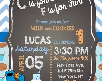 5x7 Cookie Monster Birthday Invitation