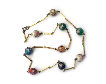 Mid Century Venetian Glass Wedding Cake Bead Necklace Aventurine Italy 1940s 1950s
