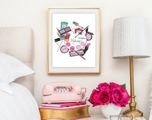 Makeup gifts,Makeup art print,Makeup accessories illustration,Cosmetic art prints,Lipstick art print,Glam vanity wall decor,Chic wall art